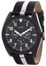 GUESS Mens Black Dial Black and White Fabric Strap Watch W90067G1