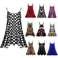 New Ladies Sleeveless CAMI Plus Size Print Summer Swing Mini Dress Vest Top 8-26