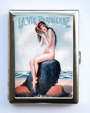 Cigarette Case id case Wallet La Vie Parisienne Nude Girl French Dog Art Deco