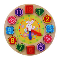Kids Wooden Teaching Puzzle Card Games Digital Clock Cognition Time Toys WE
