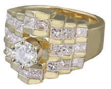 14K Yellow Gold Round Forever One Moissanite Diamond Engagement Ring deco 2.80ct