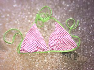 WOMENS/GIRLS BIKINI TOP - POLKA DOT PINK/GREEN - HALTER NECK TIE SIZES 10/12/14