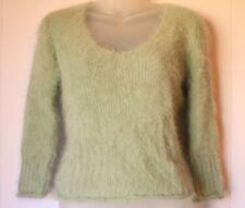 Express 80% Angora Women's Sweater Green Fuzzy Soft V Neck - Size Large (L)