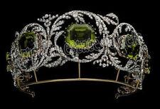 15.70cts ROSE CUT DIAMOND PERIDOT .925 SILVER WEDDING HAIR TIARA Crown