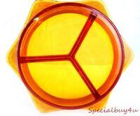 AB1 Vintage Amber Gold Trim Fancy Depression Glass Dish Divided 3