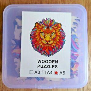 NEW!  Lion Animal Shape Jigsaw Puzzle w 100 Wooden pcs # A5 w Animal-Shaped pcs