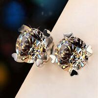 Elegant Stud Earrings Women 925 Silver Jewelry White Sapphire A Pair/set
