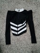 Medium Child Black and White Long Sleeve Striped Solo Dance Top