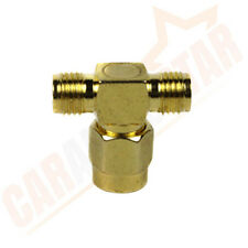 SMA Male to Two 2 SMA Female T Adapter Coaxial Connector Splitter Gold Plated