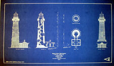 "Vintage California Lighthouse Pigeon Point  Blueprint Plan 14"" x 24"" (273)"
