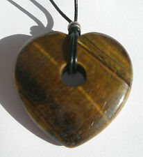 Tigers Eye Heart Donut Pendant Necklace. 45mm. Free gift pouch