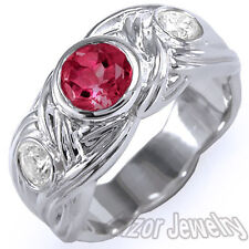 18k Solid White Gold Genuine Ruby And Diamond Men's Ring Sizes 6 to 11.5 #R1344