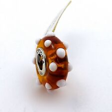 TEDORA STERLING SILVER AMBER WITH WHITE DOTS MURANO GLASS BEAD CHARM NEW