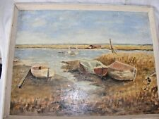 VINTAGE DAVID DAVIES OIL PAINTING BOATS SEASCAPE DATED 1945 OIL ON BOARD