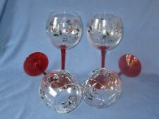 Boxed Set Of 4 PFALTZGRAFF Winterberry Christmas Stemmed Wine Glasses Holly