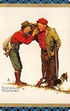 Joker Norman Rockwell 2 Men Hunting Dog Vintage Single Swap Playing Card