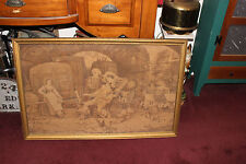 Antique Vinea Signed French Tapestry-Gilded Frame-Wine Barrels Painters Soldiers