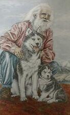 1990 Signed Patti Lindstrand Old Man Huskies Print Alaskan Sketches Limited Ed