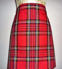 SHORT BISTRO / CAFE / PUB APRON WITH POCKET,RED SCOTTISH TARTAN.Made in Scotland