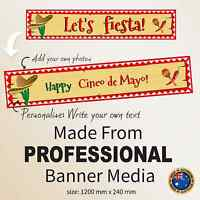 Personalised Mexican Fiesta Decoration 21st 30th Party Canvas FABRIC Banner