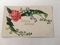 Vintage Postcard Unposted Birthday Greetings Pink Flower