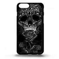 Skull tattoo ink black & white roses flower pattern graphic art phone case cover