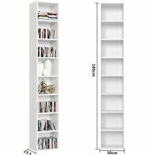 Scaffale porta CD DVD Supporto di Archivazione Libreria Mensola in Legno Bianco