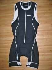 Garneau Tri Skin Suit Medium Zip Zipper Front Triathlon Trisuit Black and White