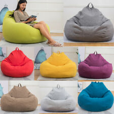 US Lazy Bean Bag Sofa Cover Chairs no Filler Linen Cloth Lounger Couch Sofa Sack