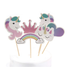 24pcs Cute Unicorn Horse Candy Cupcake Toppers Rainbow Birthday Party Supplies