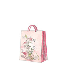 Printed Paper Gift Present Bag Premium HUMMING BIRD & FLOWER Pink Medium / D