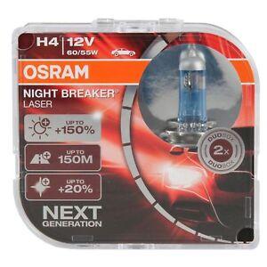2 AMPOULES H4 OSRAM NIGHT BREAKER LASER 150% D'ECLAIRAGE 12V 60/ 55W XENON LOOK