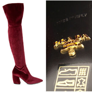 sz 37.5 NEW $1100 PRADA Red STRETCH VELVET OTK Point Toe Fitted Over Knee BOOTS