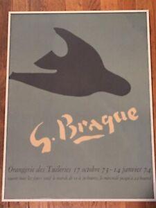 GEORGES BRAQUE RARE LITHO PRINT EXHBT POSTER BLACK BIRD TUILERIES 74 FRAMED VTG
