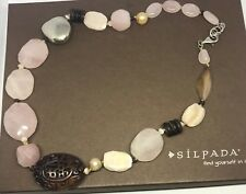 Silpada Rose Quartz Freshwater Pearl Sterling Silver Necklace N1819