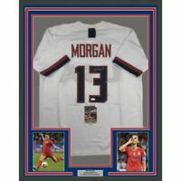 FRAMED Autographed/Signed ALEX MORGAN 33x42 White Team USA Soccer Jersey JSA COA