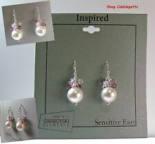 Swarovski Simulated Crystal & Simulated White Pearl Cluster Drop Earrings NEW