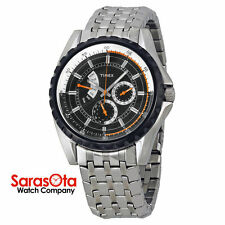 Timex T2M430 WR100M Quartz Stainless Steel Day/Date Black Dial Sport Men's Watch