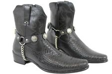 Men Western Boots Bracelets Silver Chain Black Pair Leather Strap Buffalo Bull