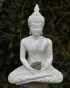 Large Shabby Chic Meditation Buddha With Natural Unique Pyrite Crystal Stone