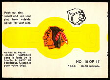 1973 74 OPC O PEE CHEE #10 of 17 Chicago Black Hawks EX+ HOCKEY LOGO RING CARD