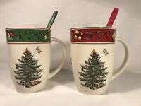 Spode  Vintage Christmas Tree 12 Oz. Mugs & Spoons (Set of 2)