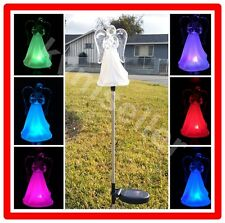 1-Piece Solar Powered Acrylic Angel Frosted Skirt Garden Stake Pathway Lawn LED
