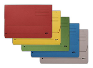 Elba A4 32 mm Half Flap Document Wallet, Assorted Colours, 285 gsm Manilla, Pack