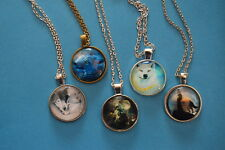 Lot of 5 WOLF  Cabochon PENDANTS NECKLACES  New!  Jewelry USA SELLER!  lobo lupo