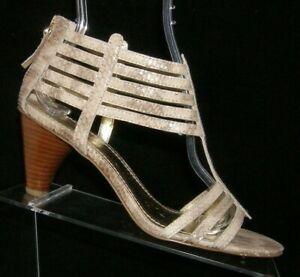 Nine West Richesse multi colored snake print leather peep toe zip heel 7.5M