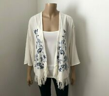 NWT Hollister Embroidered Kimono Size XS Cardigan Fringe Sweater Cream & Blue