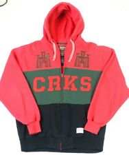 Crooks & Castles CRKS Logo Embroidered Spell Out Full Zip Hoodie Red/Black Sz L
