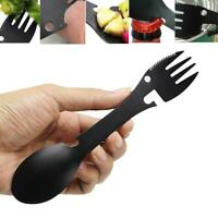 Portable Multifunction Spoon Fork Bottle Can Opener Sawtooth Cutter Camping BG