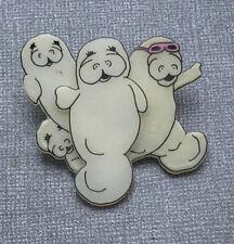 Unique artist signed handmade manatees Brooch pin In plastic